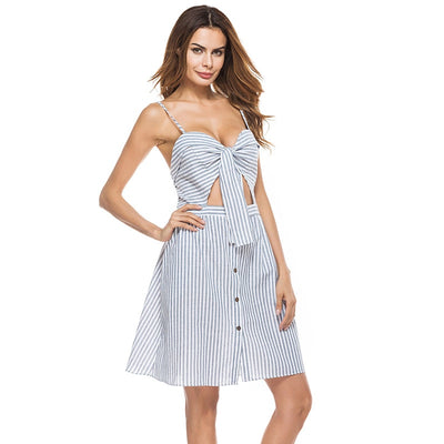 HDY Haoduoyi Blue Striped Dresses Sexy Backless Bow Spaghetti Strap A-line Button Dress Women Patchwork Summer Vestidos New