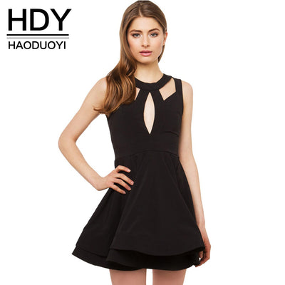 HDY Haoduoyi Fashion Backless Dress Women Casual Sleeveless Off-shoulder O-neck Vestido Hollow Out High Waist Mini Summer Dress