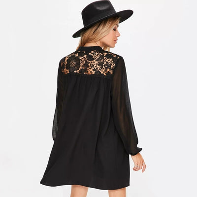 HDY Haoduoyi Women Black Lace Contrast Balloon Sleeve Short Mini Dress Casual Loose Shift Dresses Tie V Neck Womens Dresses