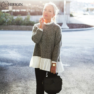 HIRIGIN Autumn Winter Women Sweater Crew Neck Long Sleeve Loose Knitwear Female Lace Patchwork loose Sweater Tops pullover