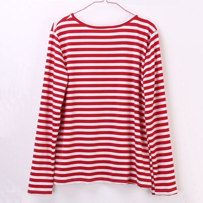 31fbb35ef61 HIRIGIN 2018 Casual Women Red White Striped Long Sleeve T Shirt Cotton  Loose Shirt Female Basic