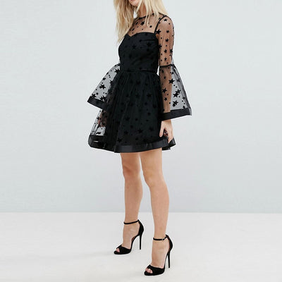 HYH Haoyihui Brand Women Black Stars Print Lace Sexy Flare Sleeve Sheer Mesh Backless Female Vestidos Ladies Mini Dress