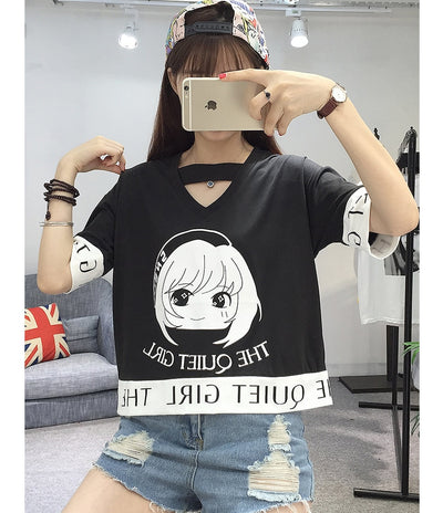 Harajuku Cartoon T-Shirt Women Tshirt Casual Cotton Hipster Funny T Shirt For Girls Top Tee Tumblr