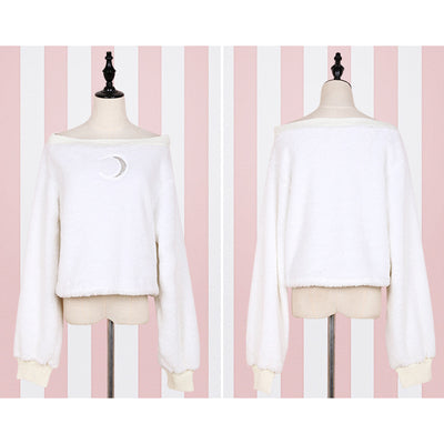 Harajuku Pullover Moon Hollow Out Embroidery Thick Fluffy Punk Sexy Women Short Sweatshirts Off Shoulder Loose Top Long Sleeve