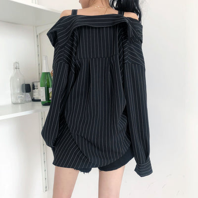 Harajuku Punk Gothic Off Shoulder Blouse Shirt Women New Korean Fashion Sexy Strapless Long Sleeve Vertical Striped Shirts
