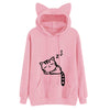 Harajuku Women Hoodies Sweatshirt Kawaii Pink Winter Cat Pattern Long Sleeve Moletom Hooded Sweatshirts Ear Hooed Bts Mujer 2018