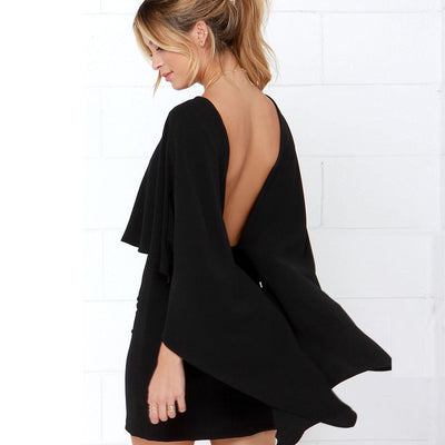 New Arrival Fashion Shawl Elastic Women Cloak Sleeve sexy club party pink Dress Elegant backless Bodycon Dress
