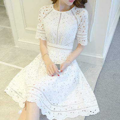 High-end custom yilin kay summer dress The white embroidered cultivate one morality with short sleeves dress
