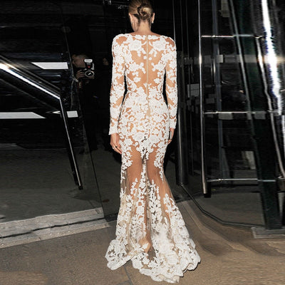 white lace Floor Length gown Mermaid robe Dress long sleeve sexy v neck maxi formal party dress vestido de renda