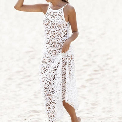 Hippie Long Women Summer hollow out Lace Gown Rend Female Backless Bohemian World shine Frock White Beach Dress Maxi Dress 2018
