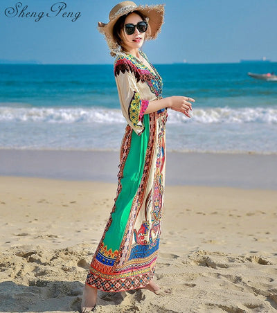 Hippie bohemian style boho hippie dress mexican embroidered dress boho chic dresses CC264