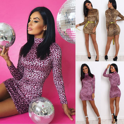 Hirigin Brand Leopard Print Dress Newest Women Long Sleeve Bodycon Casual Party Evening Mini Dress Clubwear
