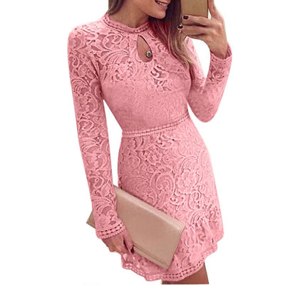 Hirigin Womens ladies fashion pink lace flower long sleeve dress Casual Sexy Tops Ladies Top Lace sexy dress women female