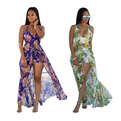 Holiday Chiffon Bohemian Women Sexy Dress Halter Backless Sleeveless Floral Print Split Maxi Loose V-Neck Plus Size Beach Dress