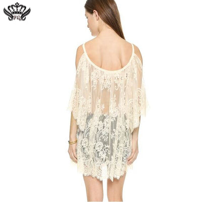 Hot Summer Style Women Vestidos Hippie Boho Embroidered Floral Bohemian Sexy Lace Crochet Beach Wear Mini Dress White black