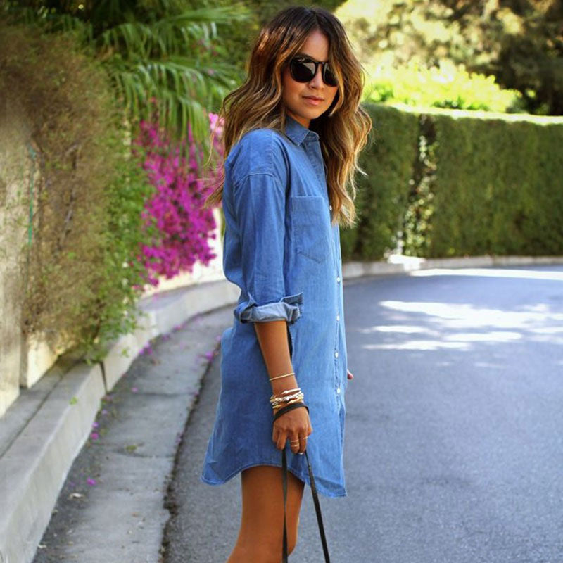 99da301aa8 Hot 2018 Summer Autumn Women Casual Denim Dresses Pockets Elegant Cowboy  Fashion Women Feminino Lady Slim