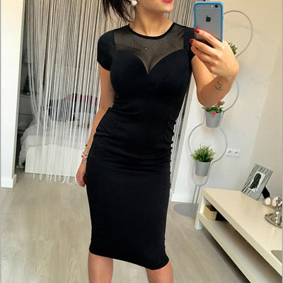 Hot Women Summer Dress Fashion Yarn Splicing Back Zipper Short Sleeved Knee Office O-Neck Sexy Women Dresses Plus Size