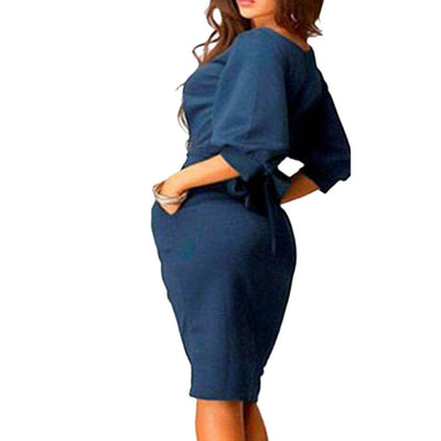 Hot Women Work Dress Autumn Summer Half Sleeve O-Neck Elegant Ladies Bodycon Bandage Slim Sashes Dresses Vestidos