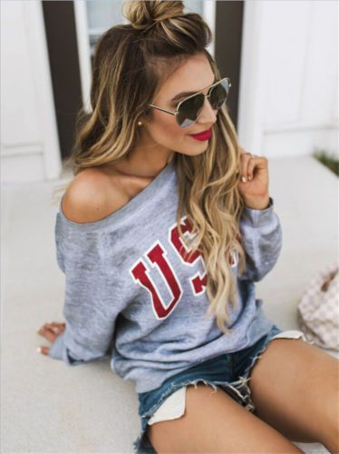 Hot Fashion Women Long Sleeve Hoodies Casual Letters Print USA Tracksuit Sweatshirt Sexy Off Shoulder Outwear Pullover Tops