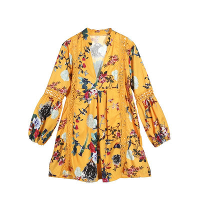Hot Fashion autumn Women Floral print Long flared Sleeve mini Dress v-neck loose hollow out Holiday boho casual sundress female