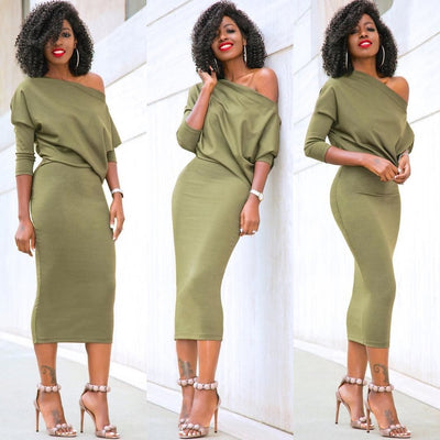 Fashion Women Casual One Shoulder Bodycon Evening Party Dress Batwing Sleeve Sexy Off Shoulder Sheath Dresses