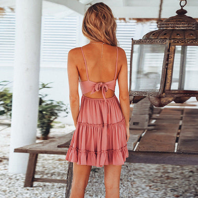 Hot Solid Women Summer Sleeveless V Neck Backless Mini Dress Evening Party Beach Dress Sundress Open Back Lace Bow Dress