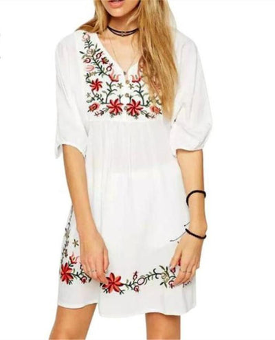 Hot summer Women Loose Retro Mexican Ethnic Embroidered Pessant Hippie Blouse Gypsy Boho Floral Mini Dress White f60