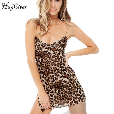 Hugcitar mesh see-through leopard print spaghetti straps sexy mini dress backless winter women Christmas party dress