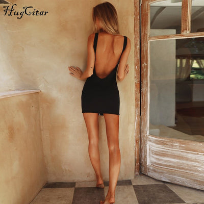 Hugcitar sleeveless V-neck zipper backless sexy bodycon dresses summer women fashion black solid party dress