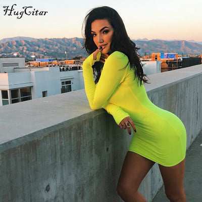 Hugcitar solid long sleeve high neck zipper high waist bodycon sexy stretchy dresses autumn winter women fashion casual set