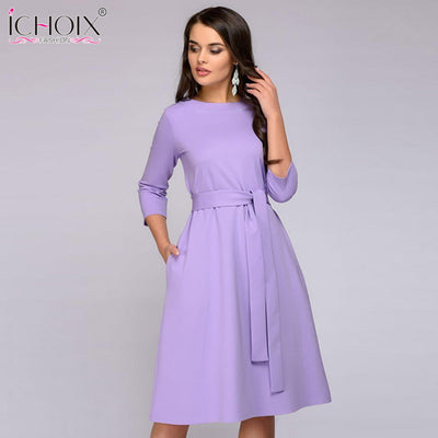 ICHOIX Spring Summer Solid Color Dress Three Quarter Sleeve Pockets Elegant Dress Women Loose Casual Dress Purple Vestido