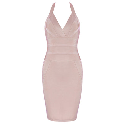 INDRESSME New Women Bandage Dress Runway Party Dresses Halter Deep V Sexy Lady Celebrity Backless Dress Lady Clue Dress