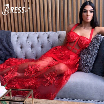 INDRESSME Women Bandage Dress Sexy Solid Hollow Out Lace Straghetti Strap Backless Floor Length Party Dress Vestidos New