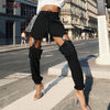 InstaHot Black Drawstring Buckle Pencil Pant Women Zipper High Waist Harem Cargo Pants Streetwear Casual Solid Rock Trousers