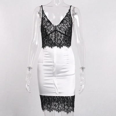 InstaHot Lace Satin Bodycon Backless Dress Women Deep V Neck Pencil Slim Skinny Spaghetti Strap Dresses White Sexy Party Outfits