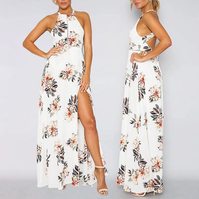 JIMMYHANK Women Summer Spring Floral Print Halter Chiffon Backless Maxi Dresses Vestidos Sexy Split Beach Summer Dress