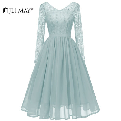 JLI MAY Vintage Long sleeve Lace Dress Party Evening Autumn Fall Women Chiffon Backless Plain V-Neck Midi Formal Wedding Elegant