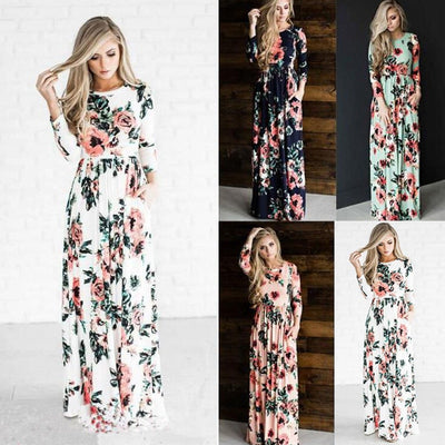 JOEYOUNG Maxi dress autumn Floral Print Boho dresses women long sleeve Evening Party dress