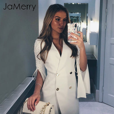 JaMerry OL Sexy V neck lace up white blazer dress Women elegant split short dress Autumn winter skinny dresses vestidos