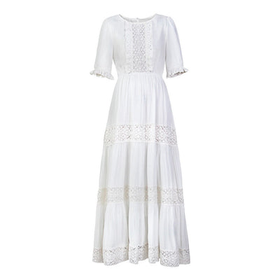 Jastie Bohemian Hippie Big Swing Holiday Beach Dress O-Neck Half Sleeve Spring Summer Dresses Women White Patchwork Lace Dress