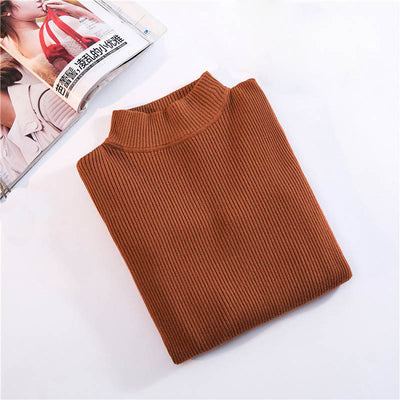 Jeass Woman Sweater Knit Pullovers Turtleneck Women Sweater Autumn Warm Long Sleeve Slim Pullover Women Fashion Solid Sweaters