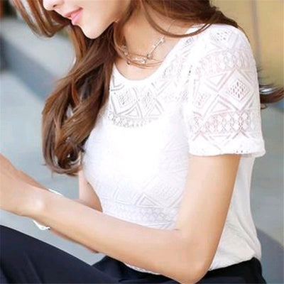 Jeseca N Women Clothing Chiffon Blouse Lace Crochet Female Korean Shirts Ladies Blusas Tops Shirt White Blouses slim fit Tops