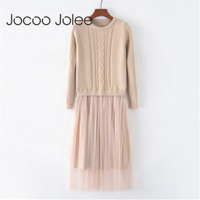 Jocoo Jolee Korean Autumn Winter Dress Elegant Ladies O Neck Long Sleeve Knitted Midi Dress High Elstic Mesh Warm Women Dress