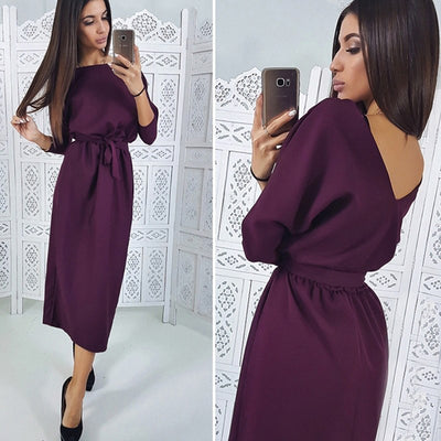 Jocoo Jolee Sexy Backless Dress Women Three Quarter Sleeve Sashes Knee Dress Ladies Elegant Solid Dress Spring Office Lady
