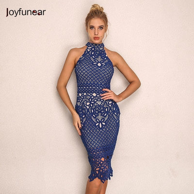 Joyfunear Summer Autumn Women Dress Bodycon Vestido Hollow Out Backless Party Lace Dress Elegant Floral Crochet Sexy Dresses