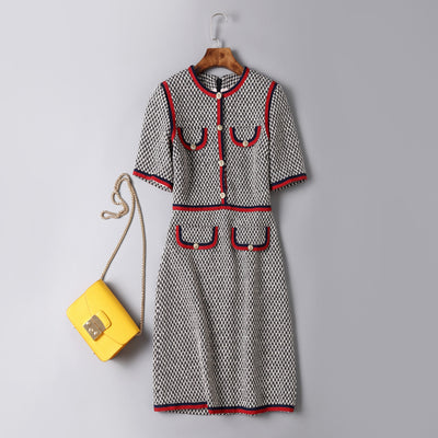 Kate Middleton Dress Round Neck Short Sleeve Slim Dress Female Thick Thread Houndstooth Patchwork Dress Vestidos Verano 2018