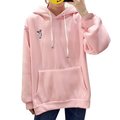 Kawaii Sweet Rabbit Ears Hooded Sweatshirt Women Embroidery Pink Hoodies Loose Loose Long Sleeve Tracksuits Pullovers Moletom