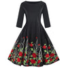 Kenancy Floral Print Women Vintage Dress Rockabilly Swing Retro Dress Round Neck Half Sleeves Party Vestidos High Waist Dresses