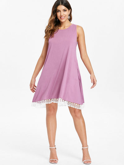 Kenancy Sleeveless Lace Hemline Shift Dress