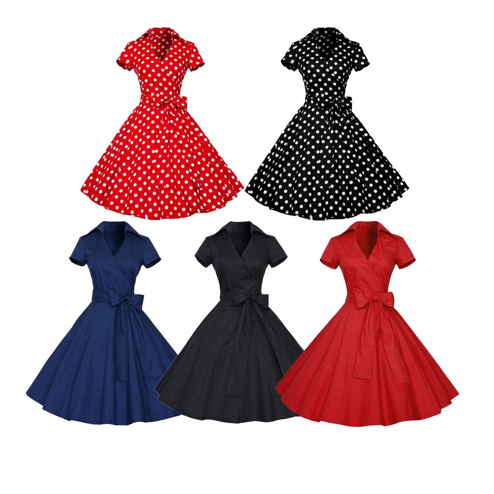 3e27b8d399 Kenancy Women Rockabilly Dress Retro PinUp Hepburn V Neck Bow Ball Gown  Tunic Swing Woman 50s